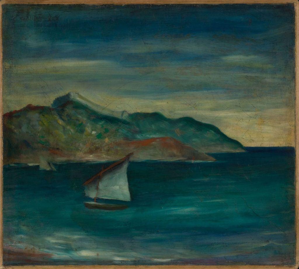 Carlo Carrà, Marina a Moneglia, 1921, olio su tela - Mostra Stanze d'artista Galleria d'Arte Moderna di Roma